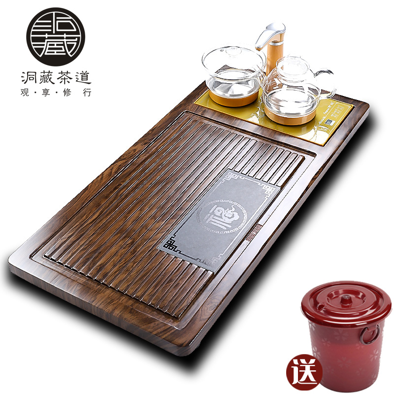 In building automatic tea suit household contracted sitting room kung fu solid wood tea tray tea sets of induction cooker