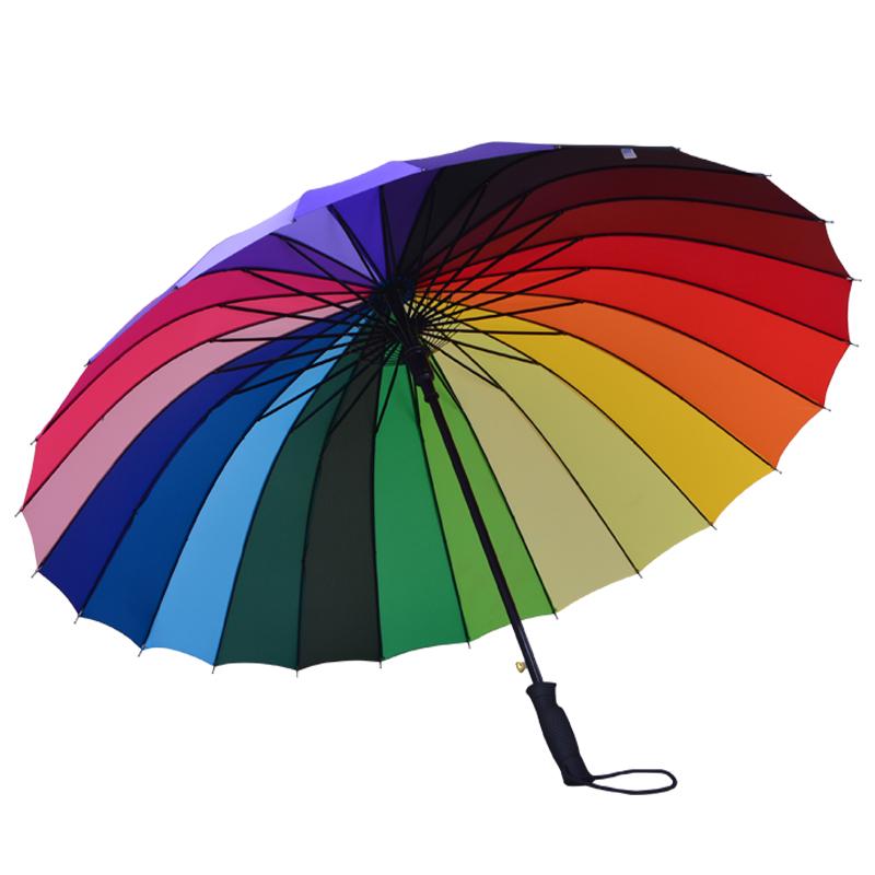 顾得 16骨超大直杆彩虹伞