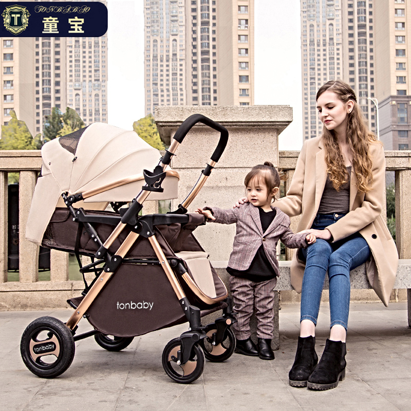 Tongbao high landscape baby stroller can sit reclining light portable folding child baby two-way baby stroller