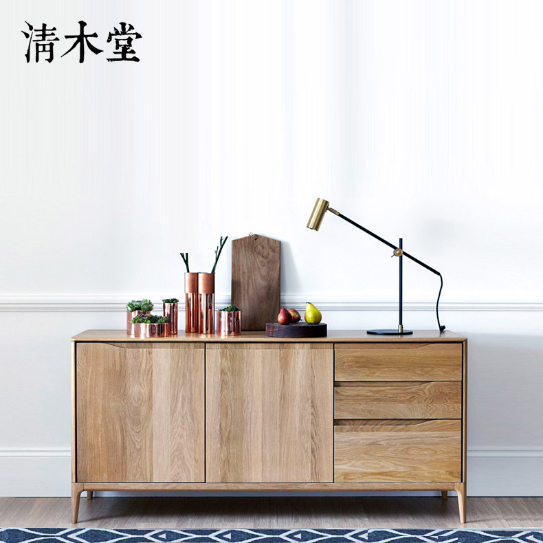 清木堂日式北欧简约现代实木餐边柜定制定做厨边柜储物柜茶水柜