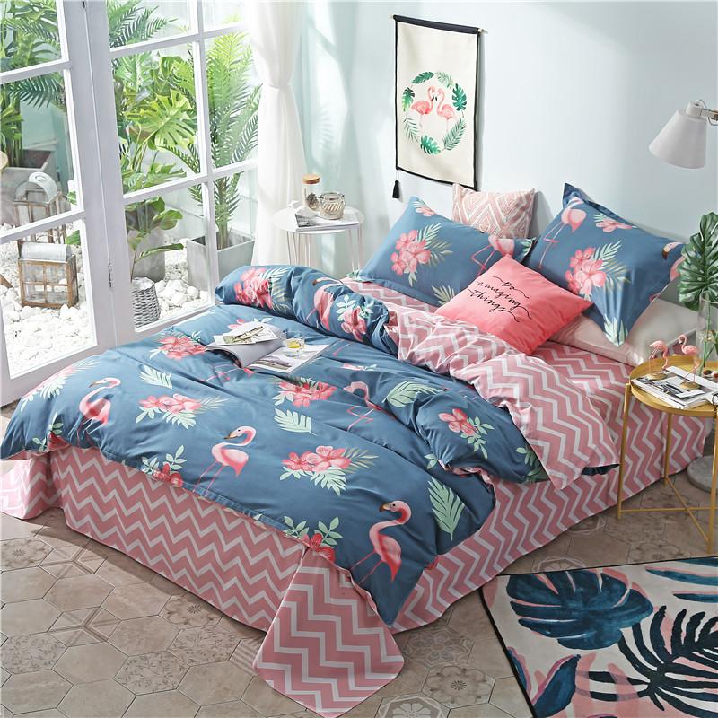 网红ins风床上用品四件套女磨毛床单被套学生宿舍三件套4单人1.8m