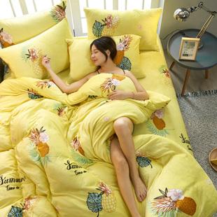 冬季加厚珊瑚绒四件套法兰绒双面绒法莱绒床单被套床上用品1.8m