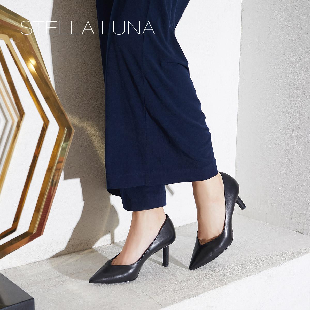 STELLA LUNA2018秋季新款牛皮尖头香烟跟细跟高跟鞋通勤女单鞋