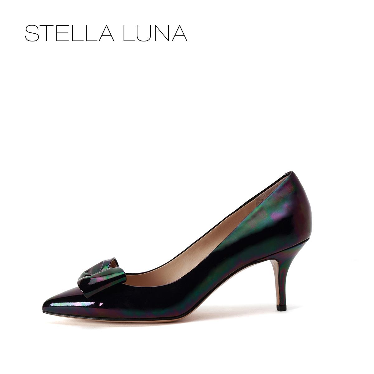 STELLA LUNA春夏浅口细跟女鞋牛皮尖头蝴蝶高跟单鞋SG133L02829