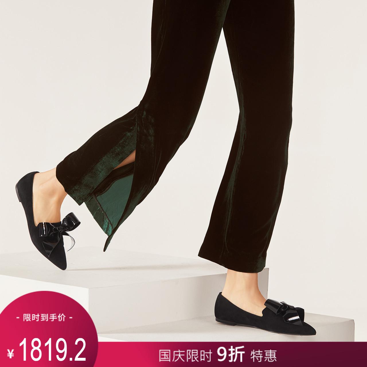 STELLA LUNA女鞋春夏漆皮蝴蝶结平跟单鞋女SH334L24046