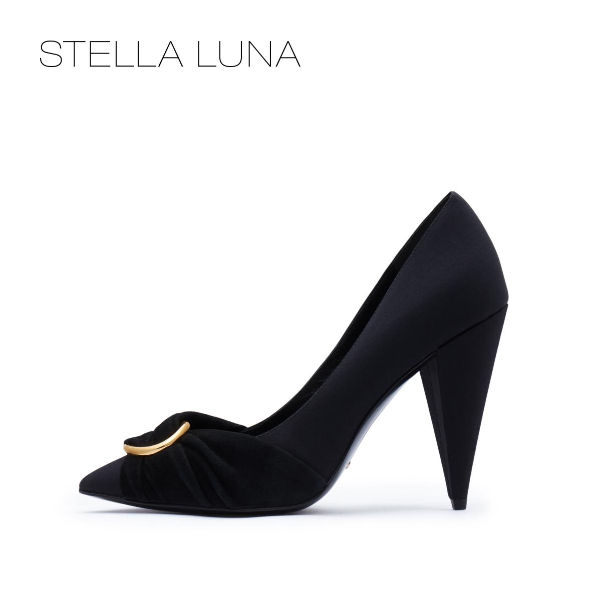 STELLA LUNA2018秋季新款沙丁布浅口尖头锥形跟超高跟鞋女单鞋