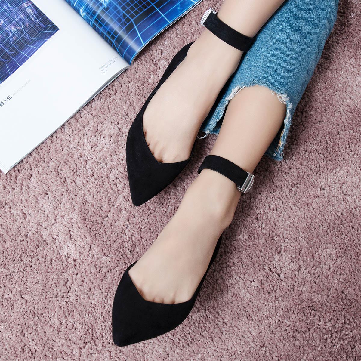 STELLA LUNA秋季女平底鞋一字扣平跟鞋时尚尖头浅口chic单鞋