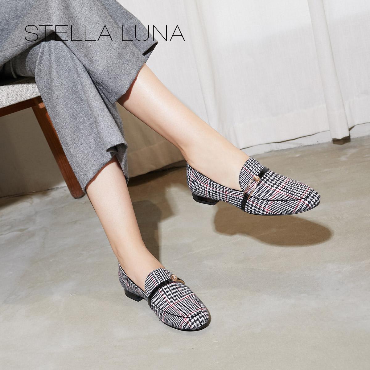 STELLA LUNA2018秋季新款休闲格纹深口圆头平跟平底女单鞋乐福鞋