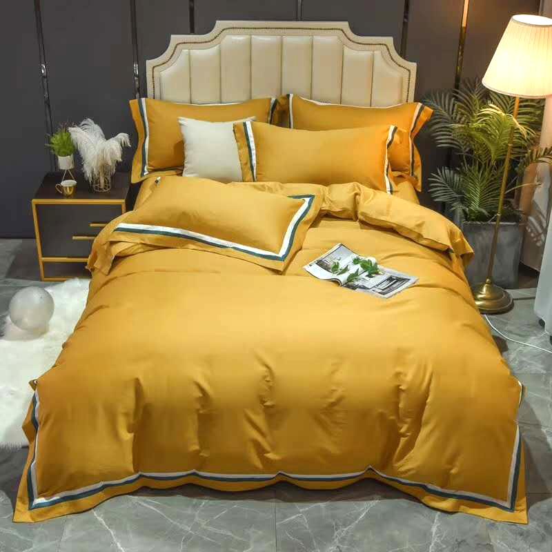 全棉四件套素色拼接套件1.5/1.8m纯棉床单被套拼色床上用品4件套