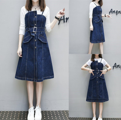 European station 2018 spring new strap skirt loose thin fashion stitching strap waist single-breasted dress