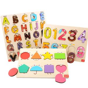 美国TOI拼图玩具1-2-3-4岁宝宝儿童木质早教字母数字认知拼板教具
