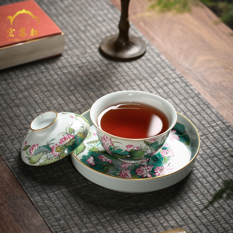 Jingdezhen tureen three to make tea tureen single ceramic household enamel handpainted lotus kung fu tea cups