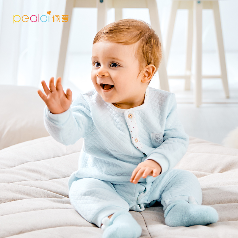 佩爱 婴儿连体衣秋冬新生儿衣服保暖爬爬服宝宝冬装长袖哈衣家居