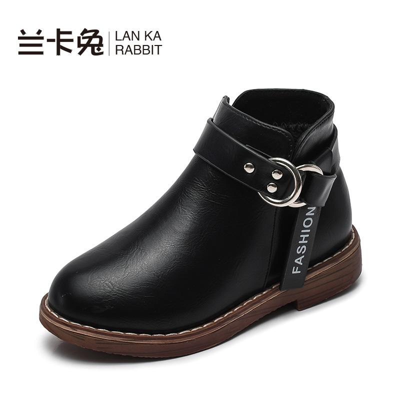 女童小短靴2018秋冬新款韩版女孩靴子加绒宝宝二棉靴潮儿童鞋皮靴