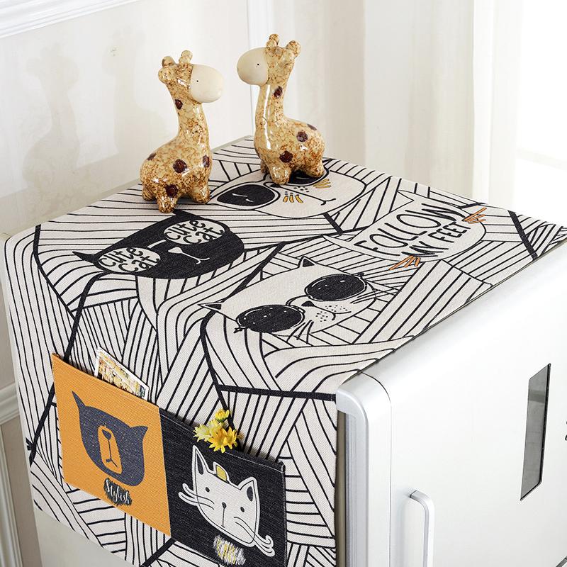 棉麻布艺卡通冰箱罩防尘罩滚筒洗衣机盖巾冰箱巾冰箱盖布单开盖布