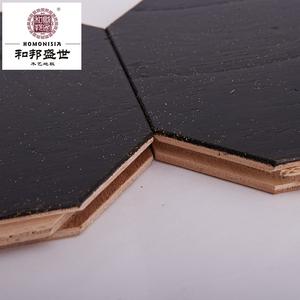 复合实木地板新中式地暖榆木浮雕仿古拉丝拼花复古黑色多层木地板