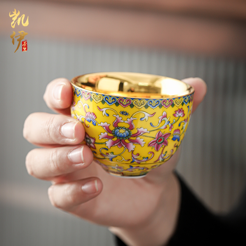 琺瑯彩鎏金手心杯厚底品茗杯泡茶主人杯喝茶杯金杯景德鎮陶瓷茶杯