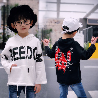 Children's clothing boy sweater 2018 spring section Korean leisure hooded bottoming shirt children's spring hooded long-sleeved T 桖 tide