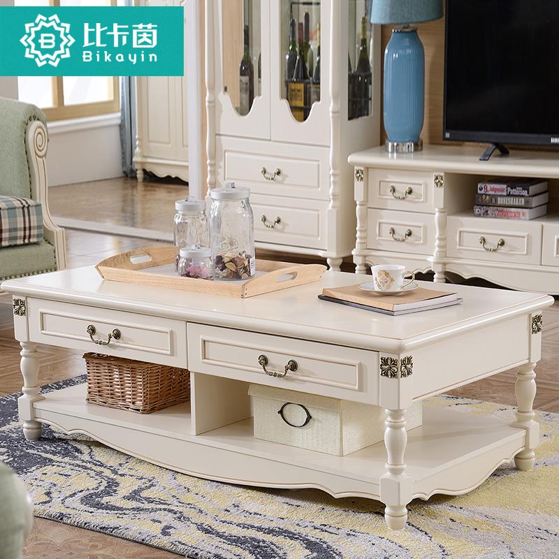 比卡茵美式实木小户型客厅简约白色茶几地中海储物长方形茶几组合