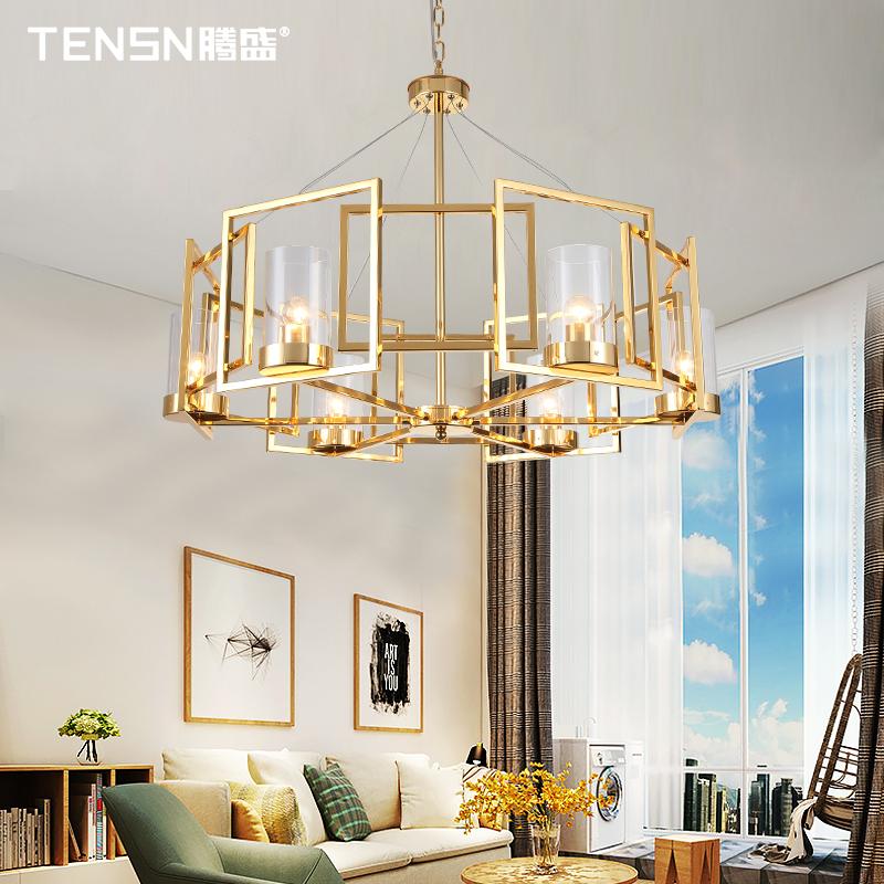 后现代轻奢客厅吊灯创意玻璃卧室餐厅样板房金色方形铁艺吊灯