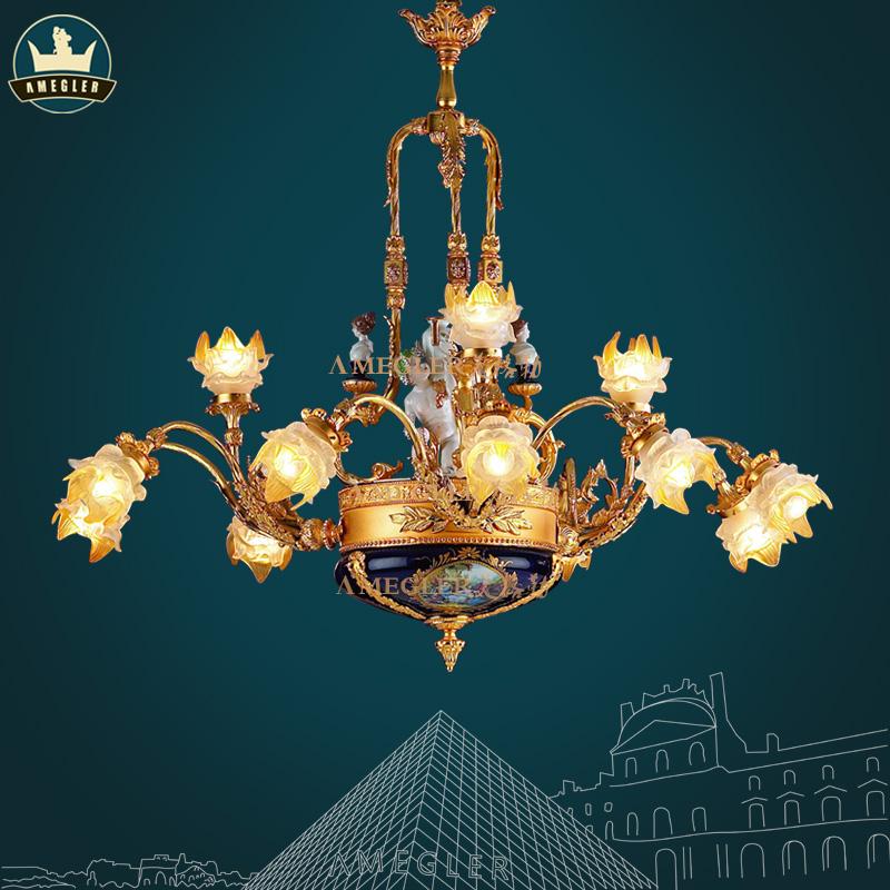 美格勒 法式 陶瓷吊灯全铜 客厅卧室别墅铜灯欧式后现代 客厅吊灯