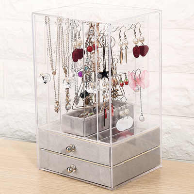 Acrylic Earrings Box Jewelry storage box transparent earring hanger ear nail Display box jewelry dus...