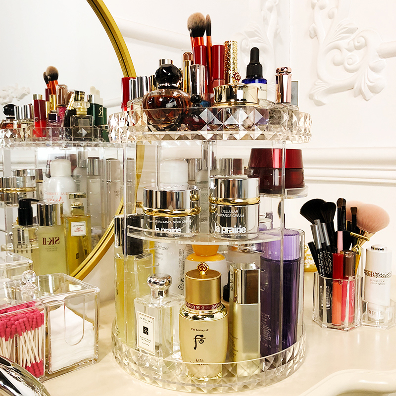 Net red rotating cosmetics storage box home acrylic dressing table lipstick skin care desktop finishing rack brush