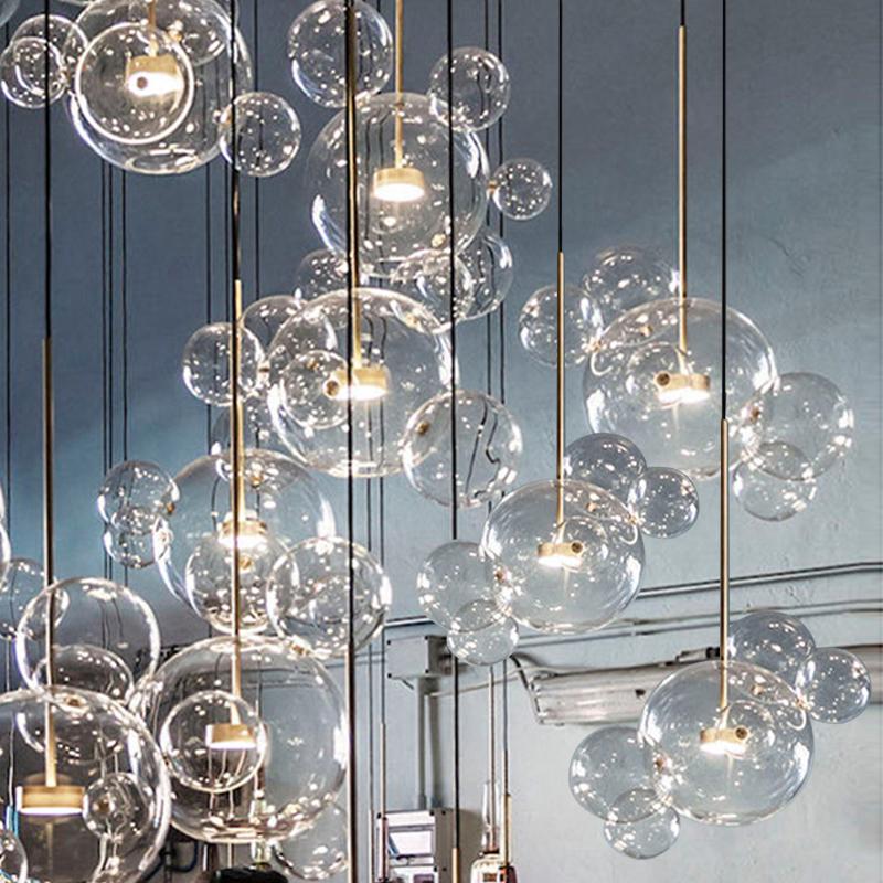 荣裕意大利设计师北欧现代创意分子灯可爱米奇玻璃球泡泡餐厅吊灯