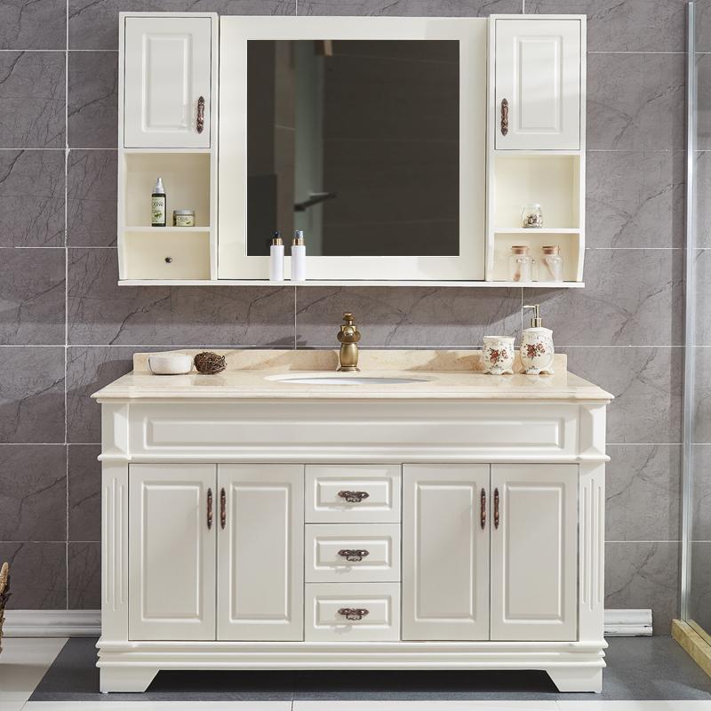 欧式浴室柜组合大尺寸橡木落地卫生间洗漱洗手洗脸盆柜实木卫浴柜