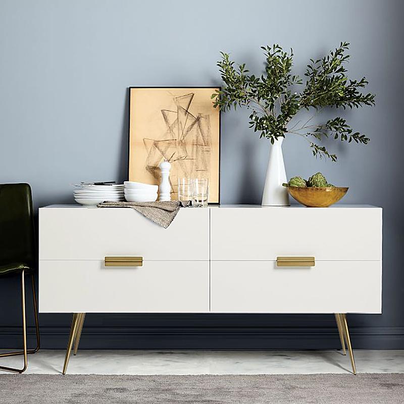 双帝北欧玄关台玄关桌简约现代实木门厅柜餐边柜白色烤漆条几窄桌