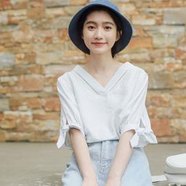 夏季纯色宽松短袖衬衫五分袖衬衣
