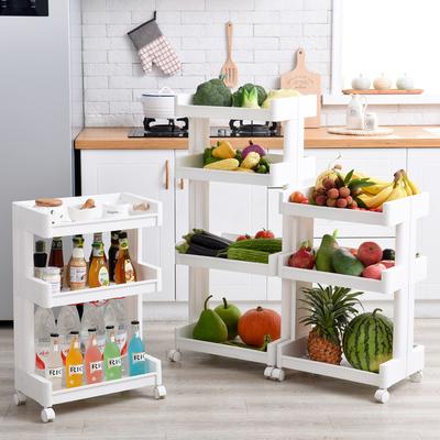 厨房置物架落地多层置地式塑料整理架可移动收纳架推车储物架层架