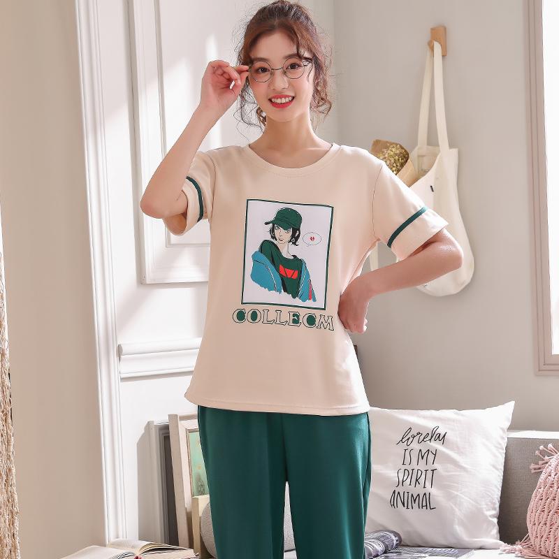 夏の純綿パジャマの女性の半袖の長ズボンの韓国版の甘くて少ない女性の家でくつろぐホームウエアは外でスーツを着ることができます。,タオバオ代行-代行奈々