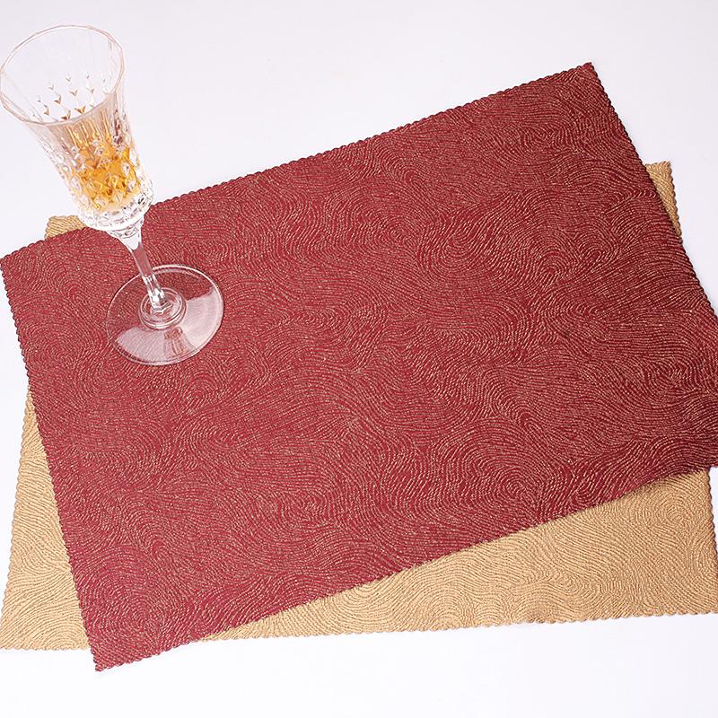 酒红色沙�z--9f_高清 lifeeyes餐桌隔热垫欧式布艺餐垫桌垫盘垫公寓指韵酒红色沙金色