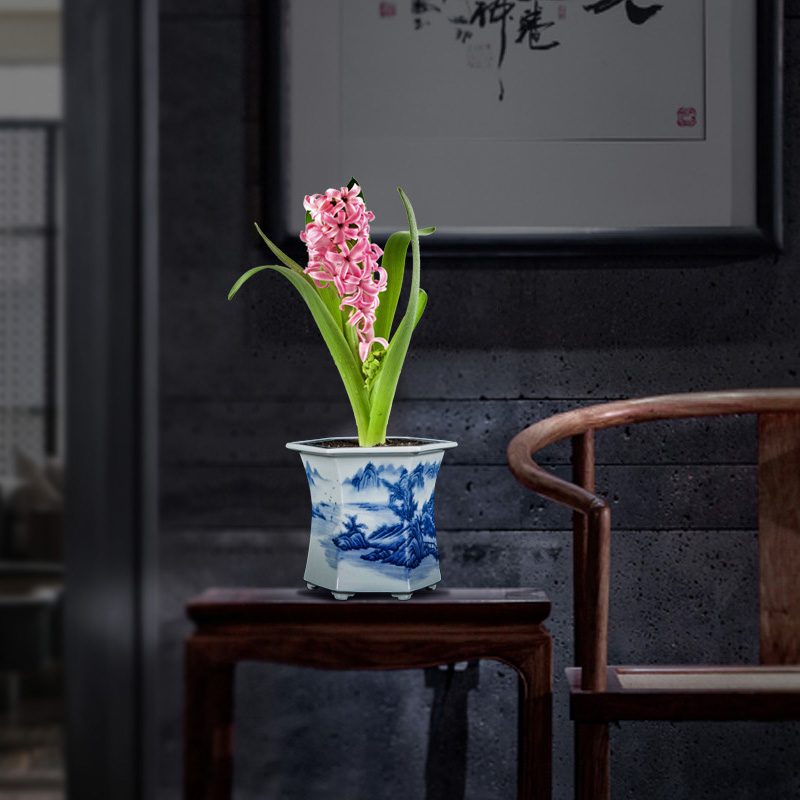 Jingdezhen blue and white porcelain hand - made six - party pot podocarpus potted orchid the plants flower huai household in the basin