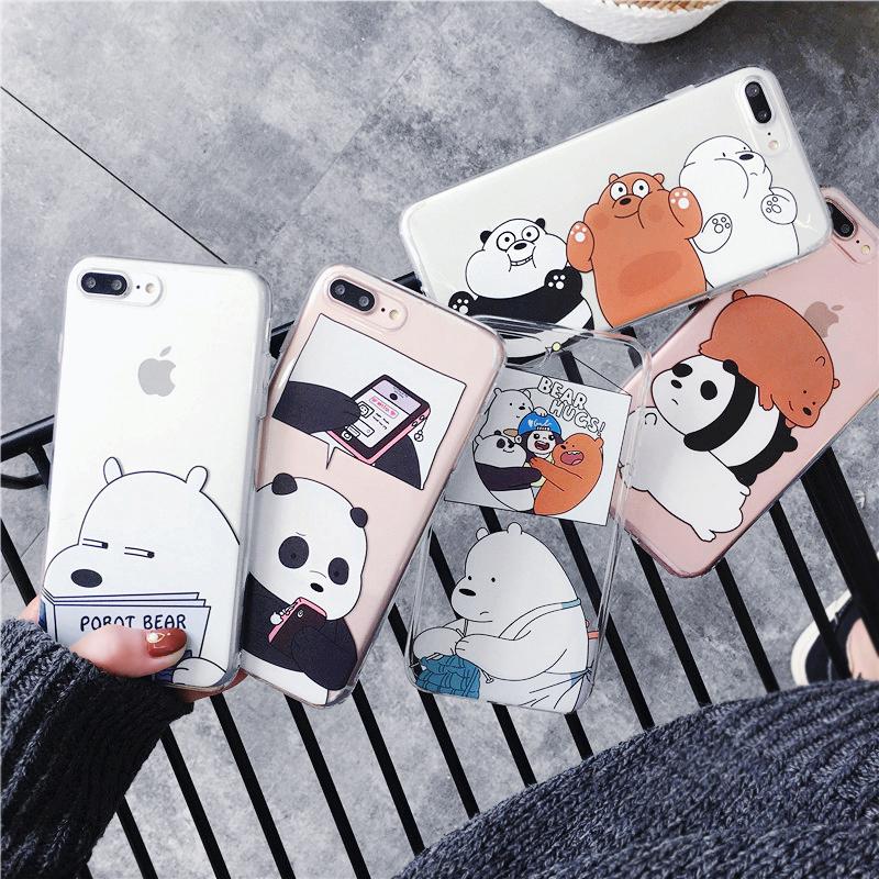 搞怪网红小熊iPhone8plus手机壳苹果XS趣味卡通X透明7Plus女6sp软