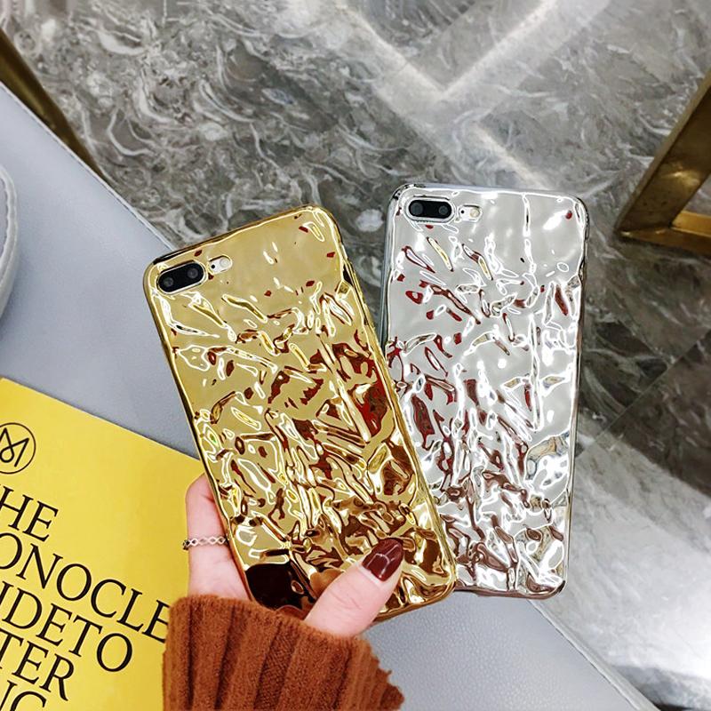 ins网红同款褶皱锡箔纸iPhoneX手机壳XS锡纸苹果8/7plus潮牌6sp软