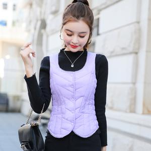 秋冬新款韩版女装轻薄内穿羽绒马甲女短款显瘦保暖修身羽绒服背心