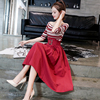 Two-Piece Real Shot Autumn And Winter New 2018 Striped Sweater High Waist Skirt Dress Suit