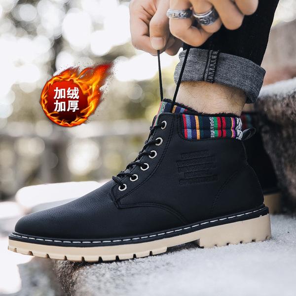 2018 New Winter Martin Boots Plus Velvet Warm Shoes Casual Men'S Shoes