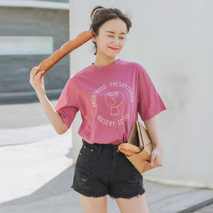 实拍+小视频 1058#可爱卡通印花圆领学生短袖T恤女上衣
