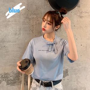 控价26 实价实拍 韩版学院风宽松系带短袖T恤女