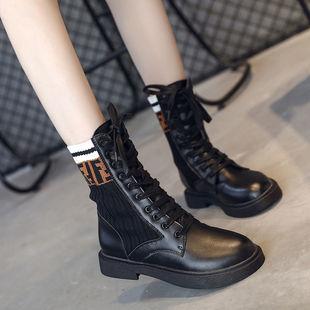 秋冬新款靴子马丁靴女英伦风学生韩版平底短靴ins中筒机车靴23