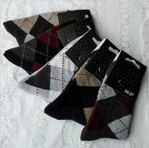 5双日系菱形格中筒男袜加厚秋冬季混纺袜子保暖防臭