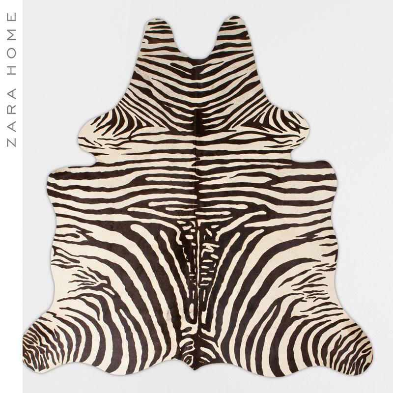 Zara Home 欧式尊贵斑马纹皮制客厅卧室门前地毯 43239029037