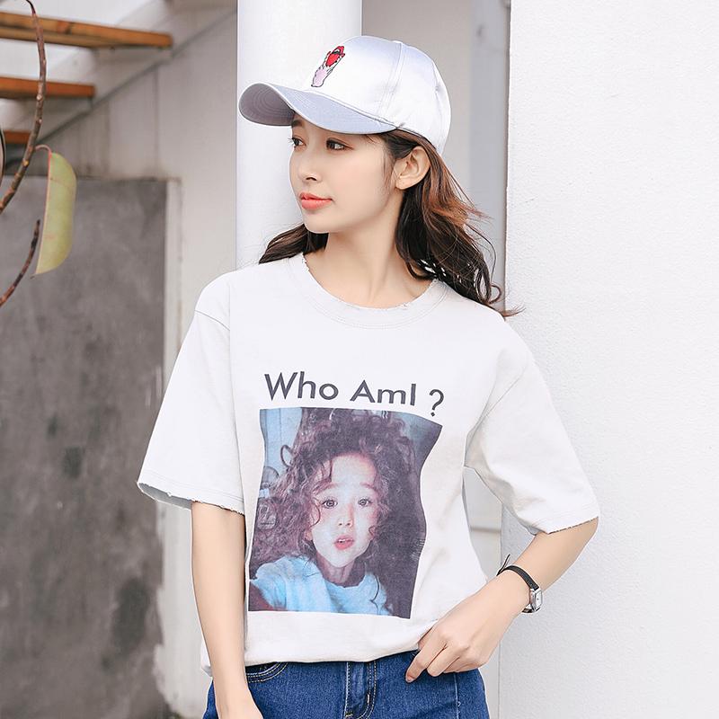 原宿风短袖t恤女夏装新款韩国