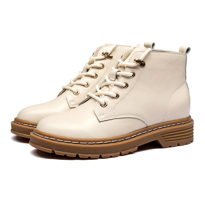 红蜻蜓女鞋 韩版休闲马丁靴 秋季新款圆头短筒靴皮靴子女单靴短靴