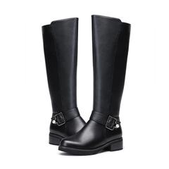 【预售】红蜻蜓女靴2018冬季新款通勤休闲长筒靴粗跟高筒加绒棉靴