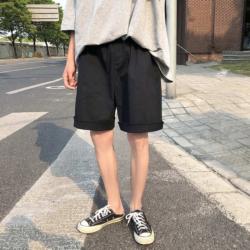 Hong Kong-flavored chic Korean version of solid-color rolled-trimmed shorts men's summer new trend thin five-point pants casual pants
