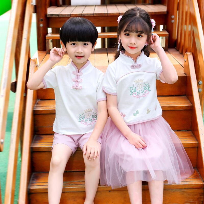 汉服女童夏装中国风男童唐装儿童古装超仙明制襦裙女小女孩古风夏